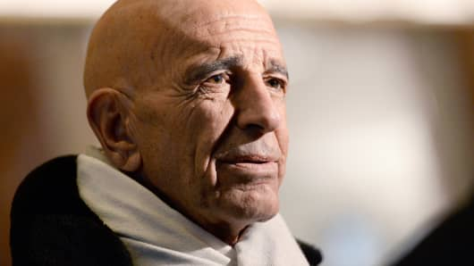 Thomas 'Tom' Barrack, founder of Colony Capital LLC and chairman of U.S. President-elect Donald Trump's inaugural committee, speaks to members of the media in the lobby of Trump Tower in New York, U.S., on Tuesday, Jan. 10, 2017.