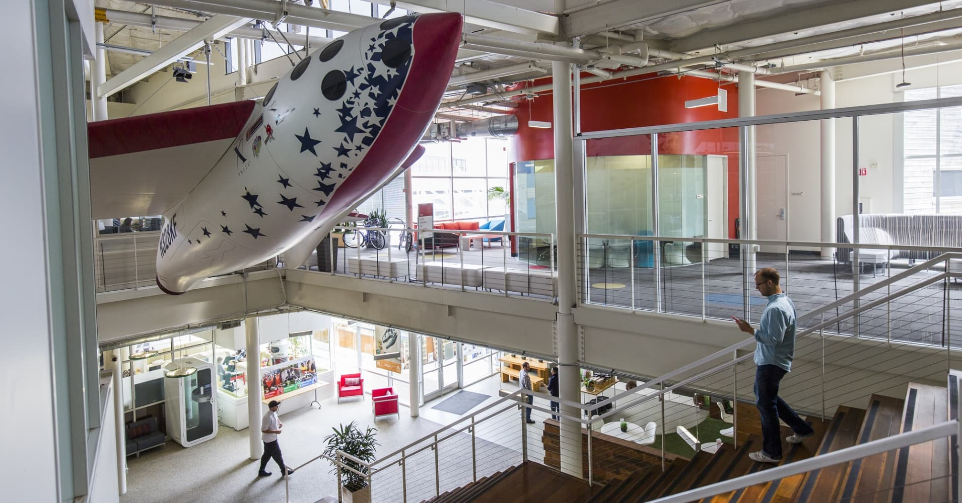 An interior view of office space at the Googleplex, the corporate headquarters complex of Google, Inc.