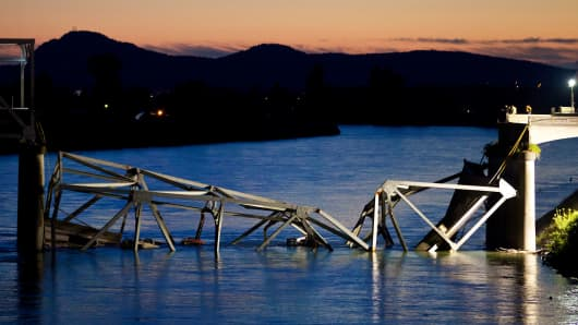 A bridge collapse on Interstate 5 near Mt. Vernon, Washington