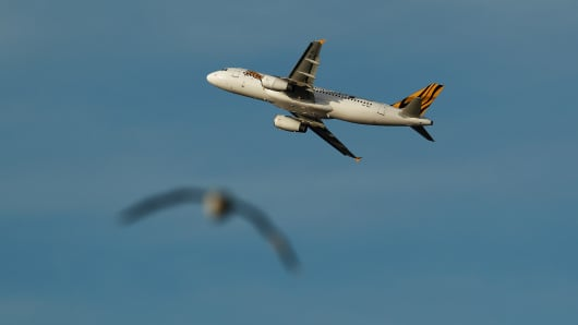 A Tigerair aircraft takes off at Sydney Airport.