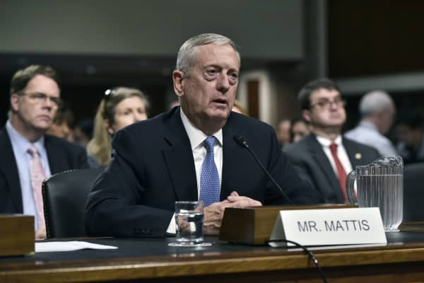 Retired Marine Corps general James Mattis testifies before the Senate Armed Services Committee on his nomination to be the next secretary of defense in the Dirksen Senate Office Building on Capitol Hill in Washington, DC on January 12, 2017.