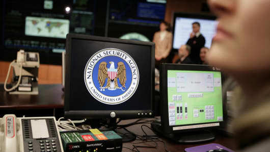 The National Security Agency (NSA) logo is shown on a computer screen inside the NSA in Fort Meade, Maryland.