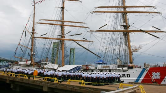 While docked in Portsmouth, N.H., the USCGC Eagle received Coast Guard Academy cadets.