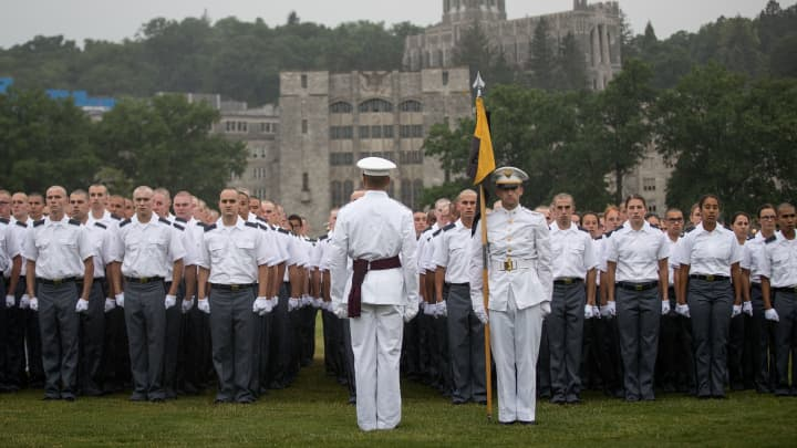 New cadets stand in formation during the Oath of Allegiance ceremony during Reception Day at the United States Military Academy at West Point, June 27, 2016 in West Point, New York.