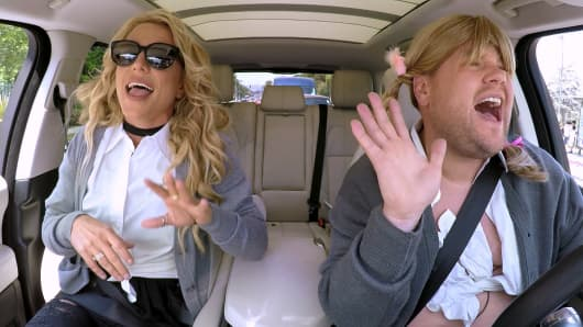 Britney Spears joins James Corden for Carpool Karaoke on 'The Late Late Show with James Corden,' Airing Thursday, August 25th 2016, on The CBS Television Network.