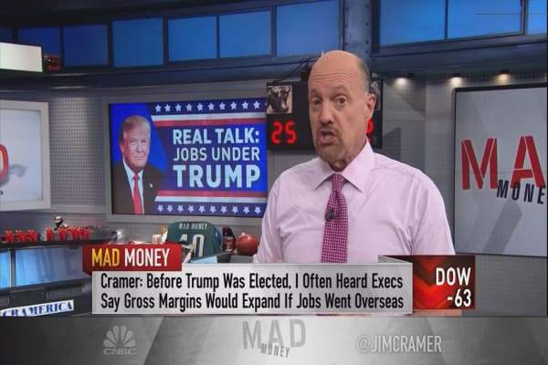 Trump's 'wall of shame' style of bullying is a success for US hiring, Cramer says