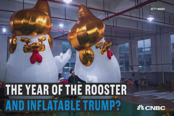 The year of the rooster and inflatable Trump?