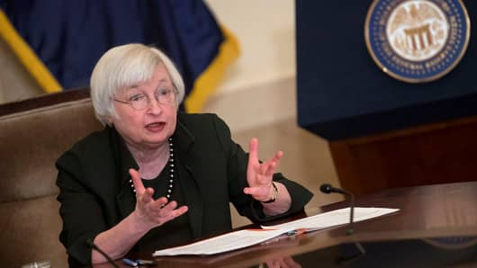 Federal Reserve Chairwoman Janet Yellen speaks to educators at the Federal Reserve Board Building January 12, 2017 in Washington, DC.