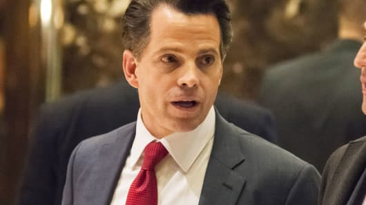 Anthony Scaramucci, SkyBridge Capital Founder and aide to President-elect Donald Trump, arrives at Trump Tower in New York last month.