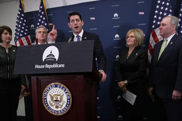 Speaker of the House Rep. Paul Ryan (R-WI) (3rd L) speaks as (L-R) House Republican Conference Chair Rep. Cathy McMorris Rodgers (R-WA), House Majority Leader Rep. Kevin McCarthy (R-CA), Rep. Diane Black (R-TN) and House Majority Whip Rep. Steve Scalise (R-LA) listen during a news briefing after the weekly GOP Conference meeting January 10, 2017 at the Capitol in Washington, DC. The House Republicans discussed the repealing of the Affordable Care Act.