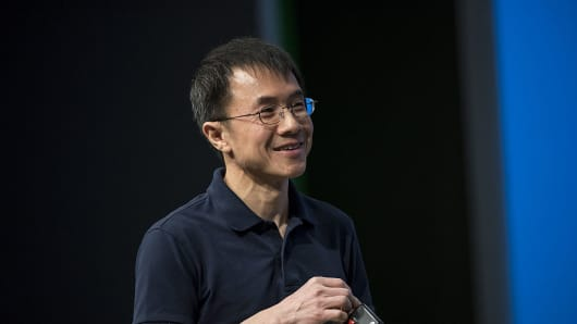Qi Lu speaks during a keynote session at the Microsoft Developers Build Conference in San Francisco, California, U.S. on March 31, 2016.