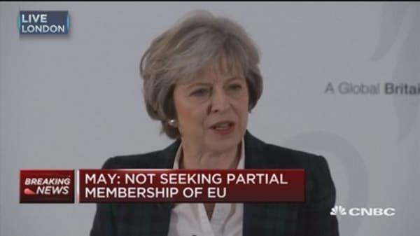 Theresa May: Not seeking partial EU membership