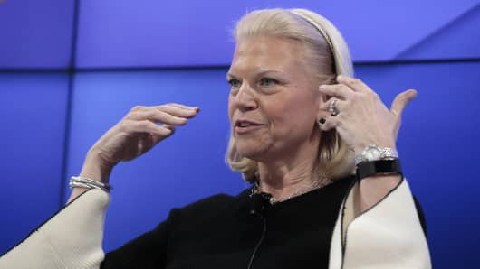Virginia Rometty, chief executive officer of International Business Machines Corp. (IBM), gestures as she speaks during a panel session at the World Economic Forum (WEF) in Davos, Switzerland, on Tuesday, Jan. 17, 2017.