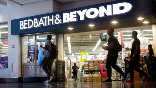 Shoppers walk past a Bed Bath & Beyond Inc. store in Washington, D.C.