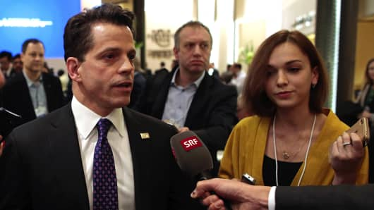 Anthony Scaramucci, SkyBridge Capital Founder and aide to U.S. President-elect Donald Trump, speaks to the media between sessions during the World Economic Forum (WEF) in Davos, Switzerland, on Tuesday, Jan. 17, 2017.