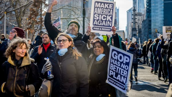 Hundreds of activists from the newly formed anti-Trump group Rise & Resist staged a peaceful protest at Trump International Hotel and Tower in New York.