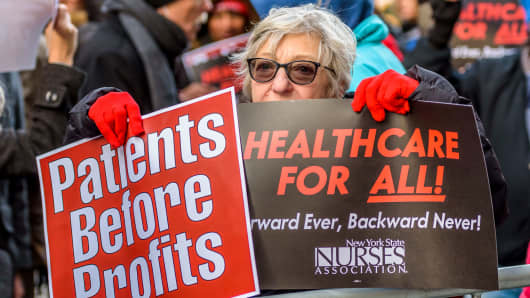 Health care advocates demonstrating near Trump Tower in New York, January 13, 2017.