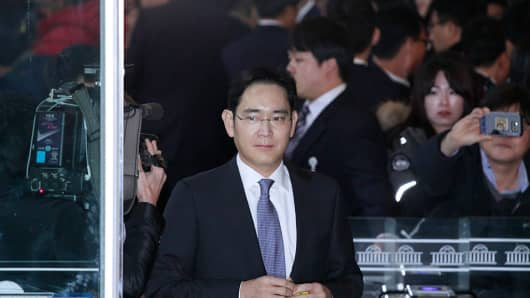 Lee Jae Yong of Samsung group vice chairman arrives during the President political scandal parliament hearing at national assembly in Seoul, South Korea.