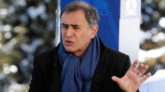 Nouriel Roubini at the World Economic Forum in Davos, Switzerland.