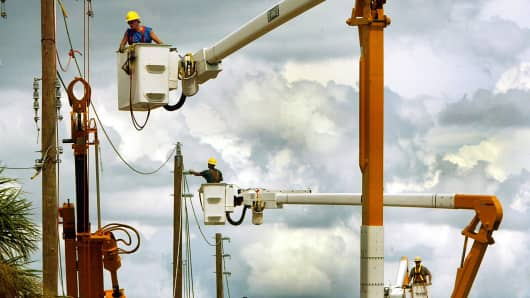 Utility works in Punta Gorda Florida.