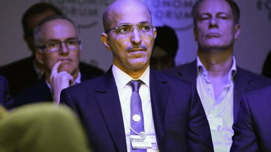 Mohammed Al-Jadaan, Saudi Arabia's finance minister, at the World Economic Forum in Davos, Switzerland