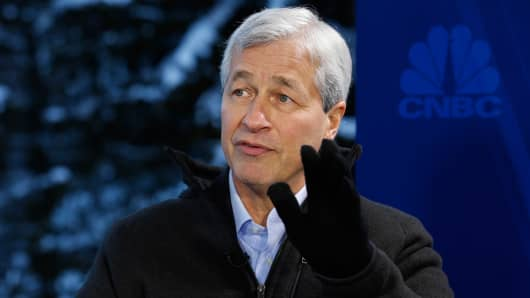 Jamie Dimon, chief executive officer of JPMorgan Chase & Co. at the World Economic Forum in Davos, Switzerland.
