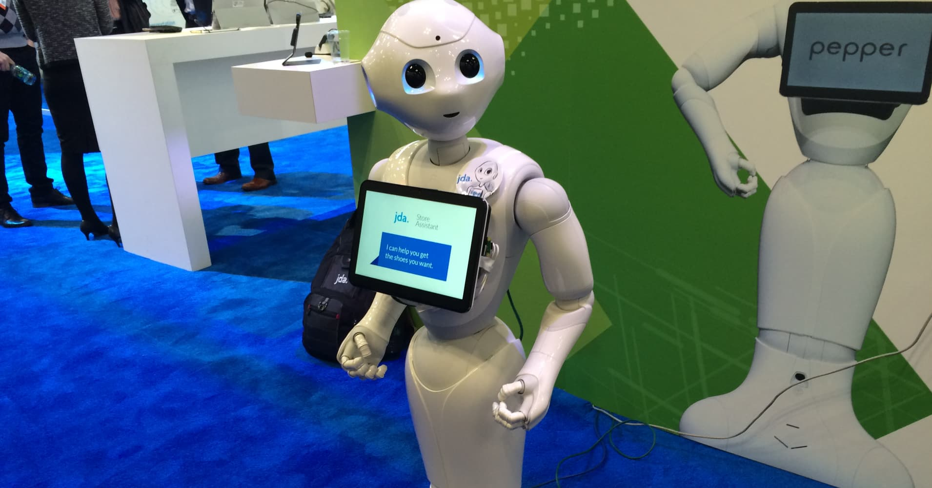 Pepper, a humanoid robot created by JDA Labs and Softbank, helps shoppers with customer service requests.