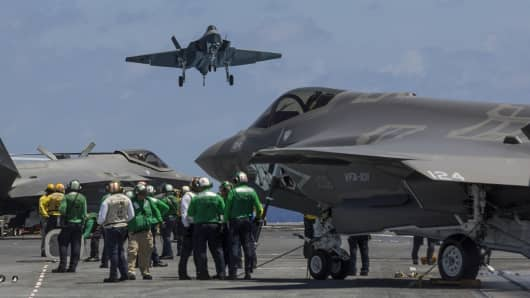 F-35C aircraft as seen from deck of the USS George Washington in August 2016 during testing off Virginia coast.