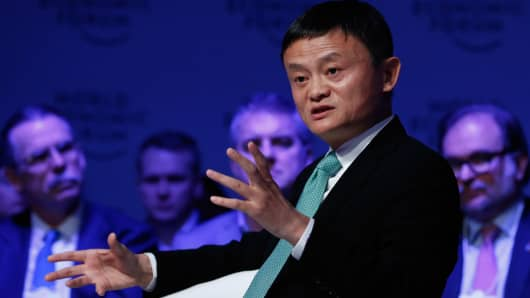 Jack Ma, Chairman of Alibaba Group at the World Economic Forum in Davos, Switzerland.