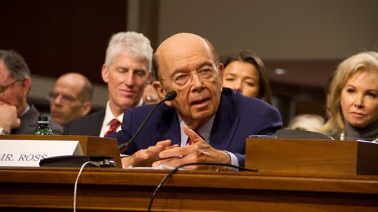 Wilbur Ross, picked by President-elect Donald Trump to serve as his commerce secretary, testifies at his confirmation hearing in front of the Senate Commerce Committee on Capitol Hill on January 18, 2017 in Washington, DC.