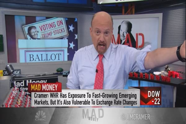 Cramer determines if Whirlpool is a 'Trump stock' in a potential trade war