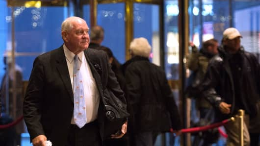 Former Georgia Governor Sonny Perdue arrives in Trump Tower, November 30, 2016 in New York.