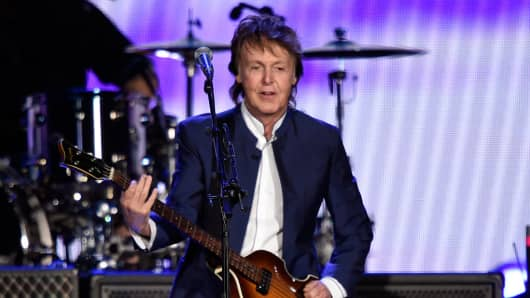 Musician Paul McCartney performs during Desert Trip at The Empire Polo Club on October 15, 2016 in Indio, California.