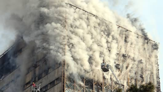 Fire engulfs high-rise building, Plasco, in Tehran, Iran on January 19, 2017.