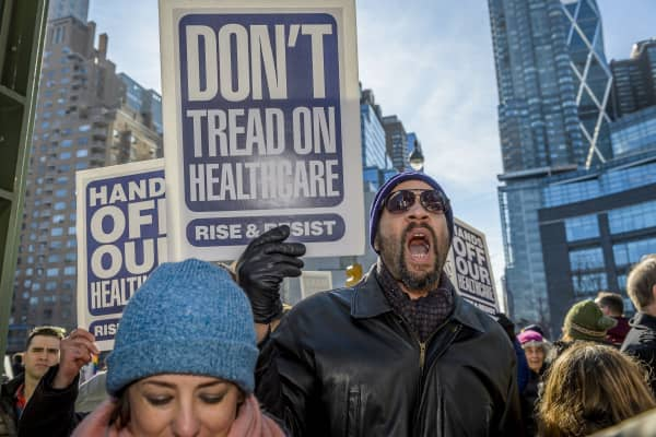 Hundreds of activists and allies from the newly-formed anti-Trump group Rise & Resist staged a peaceful protest at Trump International Hotel and Tower in New York City, to fight against the radical changes to the American healthcare system proposed by the Trump Administration and Republicans.