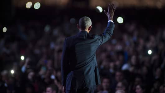 U.S. President Barack Obama waves to supporters after delivering his farewell speech