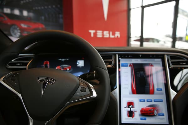 The inside of a Tesla vehicle