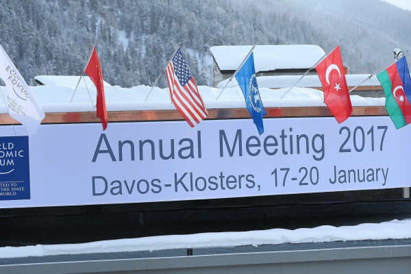 Flags flying ahead of the World Economic Forum (WEF) annual meeting on 'Responsive and Responsible Leadership' in Davos, Switzerland