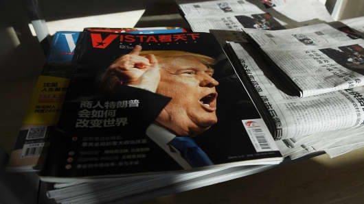 """How businessman Trump will change the world"" reads the headline on a Chinese magazine in December."