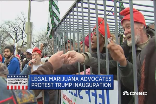 Legal marijuana advocates protest Trump inauguration