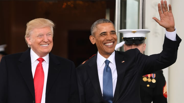 resident Barack Obama(R)welcomes President-elect Donald Trump to the White House in Washington, DC January 20, 2017.