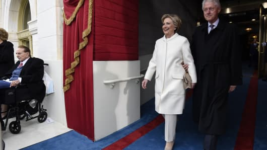 Former US President Bill Clinton and First Lady Hillary Clinton arrive for the Presidential Inauguration of Donald Trump at the US Capitol on January 20, 2017 in Washington, DC. Donald J. Trump will become the 45th president of the United States today.