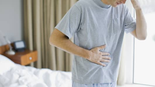 Man with a stomach pain