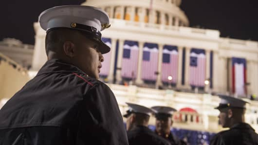 Members of Marine Barracks Washington gather on the West Front of the Capitol on Inauguration Day before Donald J. Trump was sworn in as the 45th President of the United States, January 20, 2017.