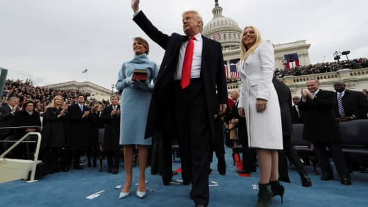 President Donald Trump acknowledges the audience after taking the oath of office.
