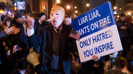 Protesters take part in a rally to protest against the President Donald J. Trump's Inauguration on January 20, 2017 in Washington, DC.