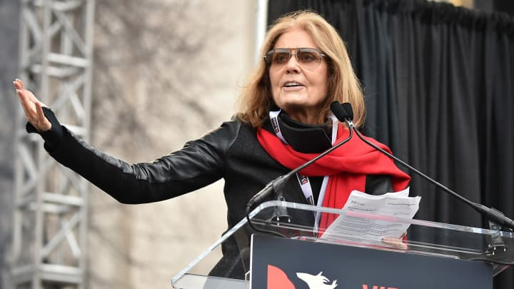 Gloria Steinem speaks onstage during the Women's March on Washington on January 21, 2017 in Washington, DC