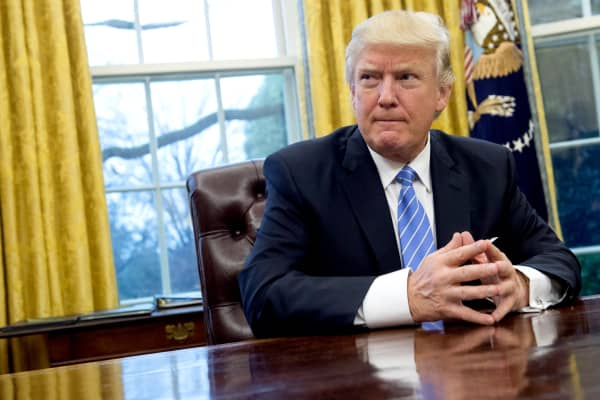 President Donald Trump in the Oval Office of the White House in Washington, DC.