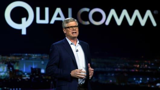 Qualcomm Inc. CEO Steve Mollenkopf speaks during a keynote address at CES 2017 on January 6, 2017 in Las Vegas, Nevada.