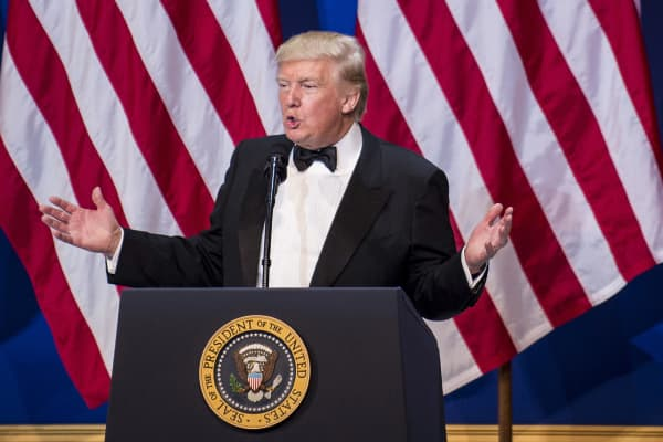 President Donald Trump, speaks during the Armed Services Inaugural Ball in Washington, D.C., on Friday, Jan. 20, 2017.